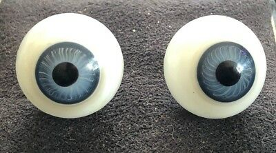 "New!! 2 Pairs Of Vintage Glass Eyeballs Bulbs For Doll Blue Or Hazel 5/8"" 16mm"