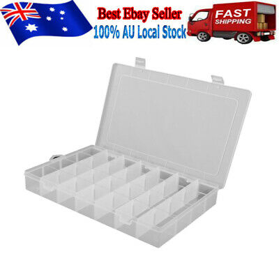28 Compartment Plastic Storage Box Jewelry Craft Container Organizer Case