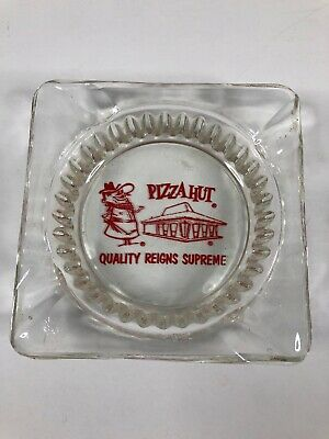 "Pizza Hut Glass Ashtray Quality Reigns Supreme 4.25"" x 1"" Vintage 60s Red Art"