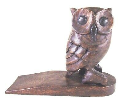 Hand Carved Wise Owl Wooden Door Stop Stained Wood Finish