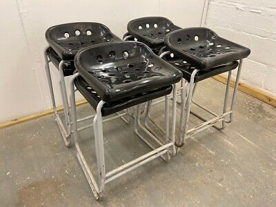 Four Retro Original Stacking School Lab Stools. Bar, Cafe, Kitchen.