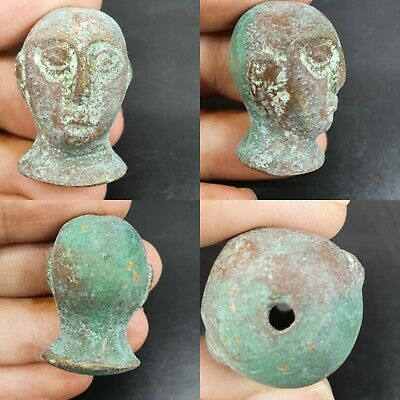 Very unique old bactrain king bronze male head wonderful old bead