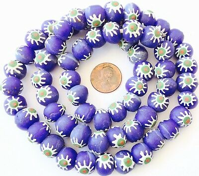 Ghana African Matched cobalt blue Round Recycled glass trade beads