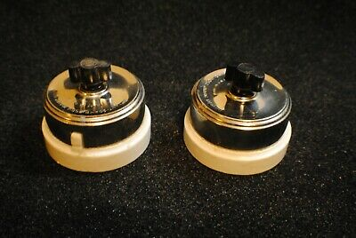 2  Vintage NOS Ceramic Chrome BRYANT Surface Rotary Switches  Steam Punk