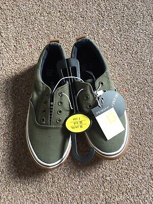 BNWT Boys UK Size 13/Euro 32 Khaki Green Laceless Slip On Pumps Trainers