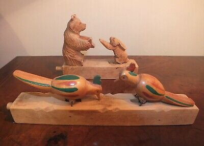 Mechanical hand carved wooden toys. Black Forest Bear. Russian Folk Art.
