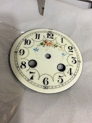 Antique French Cream Enamel Porcelain 8 Day Mantle Clock Dial - Clock Spares No3