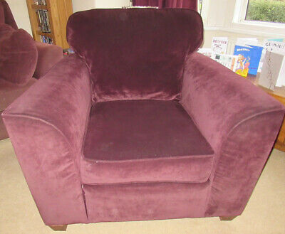 Armchair From Next Aubergine/Purple Velour Fabric