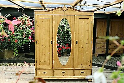 Beautiful Large Old Antique Pine Triple Knock Down Wardrobe-We Deliver/Assemble!