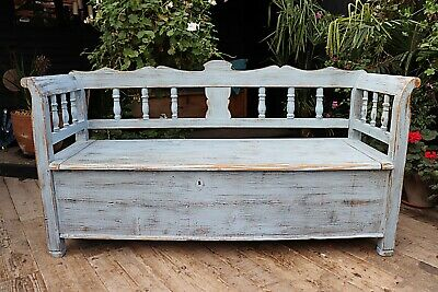 Old Antique Pine/Blue Painted Hungarian Box/ Storage Bench/ Settle- We Deliver!
