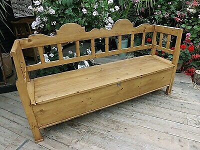 Gorgeous! Old Antique Pine Hungarian Box/ Storage Bench/ Settle - We Deliver!