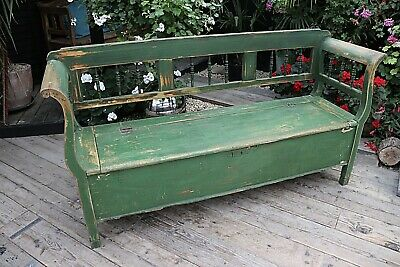 Old Antique Pine/Green Painted Hungarian Box/ Storage Bench/ Settle- We Deliver!