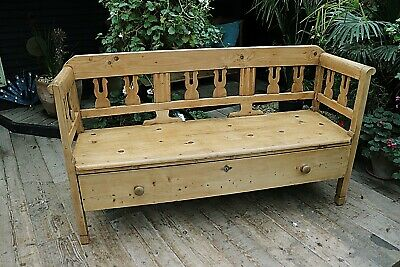 WOW! Gorgeous & Genuine Old Antique Pine  Storage Bench / Settle - We Deliver