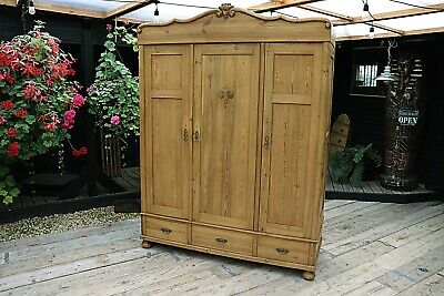 Fab! Quality! Old Antique Pine Triple Knock Down' Wardrobe-We Deliver/Assemble!