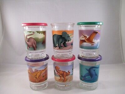 Bama Presents the Greatest Dinosaurs Complete set of 6 Jars. glass