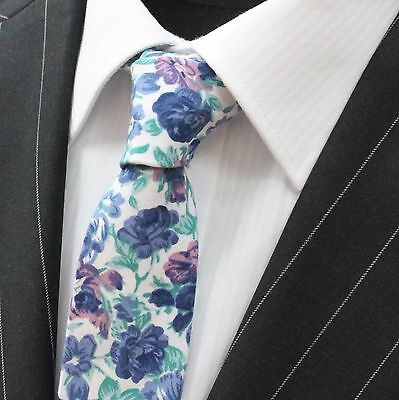 Tie Neck tie Slim Brown With Off White /& Green Floral Quality Cotton UTO8
