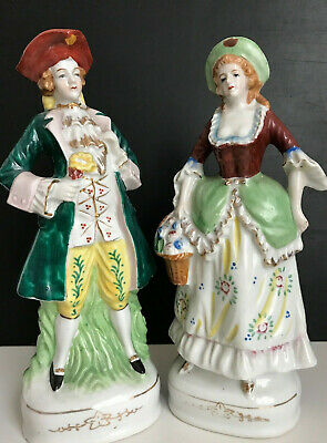 """VICTORIAN Man & Woman PORCELAIN FIGURINES Made in OCCUPIED JAPAN/mint/10"""" Ht"""