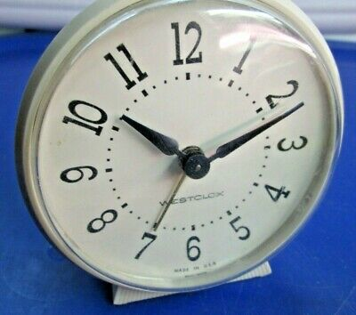 Vintage Westclox Made in the USA Alarm Clock in Shades of White and Ivory EUC