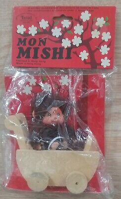 Vintage Monchichi Monmishi Doll Monkey Figure Ornament With Stroller Buggy New
