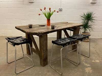 Industrial Work Bench Kitchen Island Breakfast Bar High Top Table
