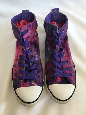 Converse All Star Chuck Taylor Tie Dye Purple High Top Tulle Tongue Junior US 6