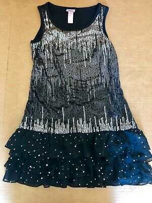 Girls Size 8 JUSTICE Black Silver Sparkle Sequin DRESS Party Wedding Dance EUC