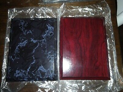 Lot of 52 Blank Award Plaque Boards 4.25x6 Black Marble Finish Trophy Base