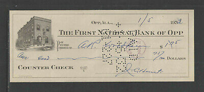 1932 The First National Bank Opp Alabama Antique Counter Check 2 Cars Vignette