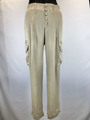 Free People Women's Tan Rayon Sheen Cargo Pant Button Front Size 2