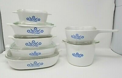 Vintage Corning Ware Blue Cornflower Lot of 14 Casserole Dishes and lids