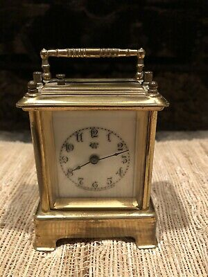 Antique Waterbury Brass Carriage Clock With Alarm And Porcelain Dial For Repair