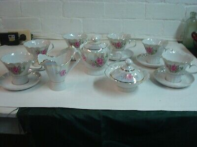Vintage Tea Set Korosten Porcelain, Tea Pot, Creamer, Sugar, Cups and saucers