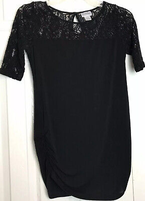Motherhood Maternity Size Small Short Sleeved Top Knit Lace Neck Sleeves