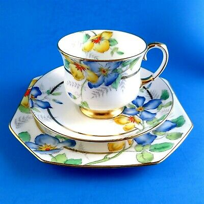 Hand Painted Clematus Paragon Teacup, Saucer and Plate Trio Set