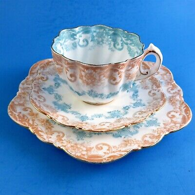 Very Old Beige and Light Blue Ruffled Paragon Teacup, Saucer and Plate Trio Set