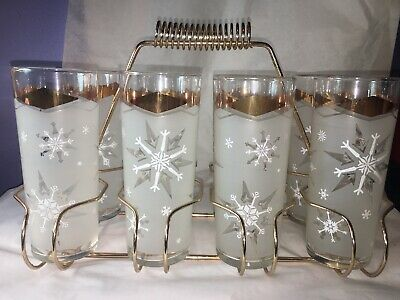 VTG MCM Gold FROSTED Snowflake Cocktail GLASSES Bar SET Highball CARRIER Caddy
