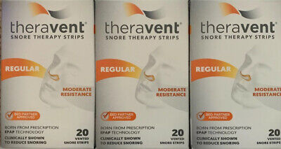 Snore Therapy Strips By Theravent - Regular Strength - 60 Strips (3 Boxes)