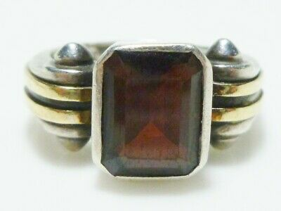 Sterling Silver 14K Gold Red Crystal Gothic Medieval Spike Designer Nr Ring Band