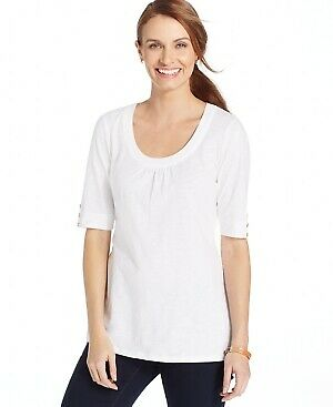 Charter Club Women's Scoop-Neck Elbow-Sleeve Top NWD Size S