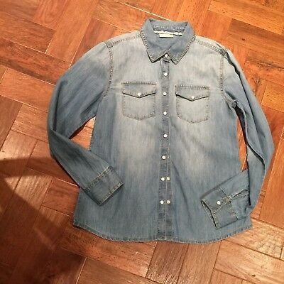 Matalan girls denim pale blue shirt/jacket age 12 VGC pearl poppers