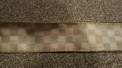 "Mackenzie Childs Parchment Check  Wire Edge Ribbon 2"" Wide by the yard NEW"