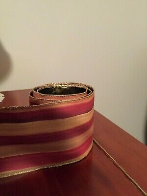 "Mackenzie Childs Heirloom Stripe Wire Edge Ribbon 4"" Wide by the yard Wreath NEW"