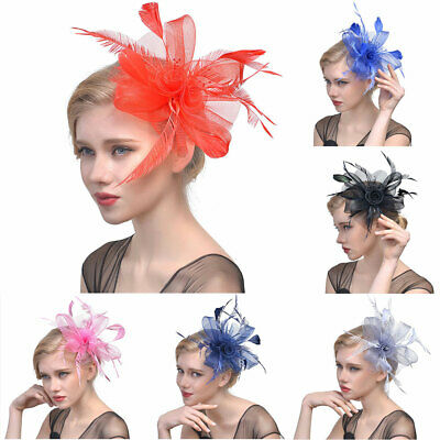 Flower Fascinators Solid Women Headband Wedding Mesh Ribbons Artificial Feather