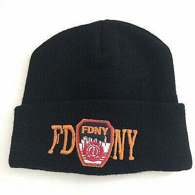 New FDNY Men/'s Embroidered Navy Knit Beanie Hat OSFA New York Fire Department