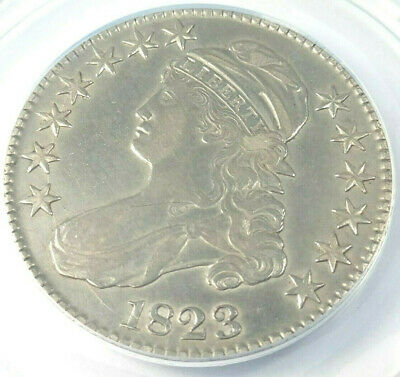 Nice Circulated 1823 O-111a Bust Half R-2 Graded By ANACS AU-50 Details-Cleaned