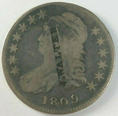 Nice 1809 Bust Half Counterstamped J. Walter Listed inTokens & Medals MD-112 R-9