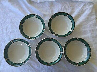 "Gibson Houseware Soup Cereal Bowl Set 5 Off White W/ Green Band 6 3/4"" Diameter"