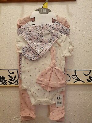 Gorgeous Girls Mothercare 6 Piece Outfit 3-6 Months Babygrow Vest Bib Mitts Hat