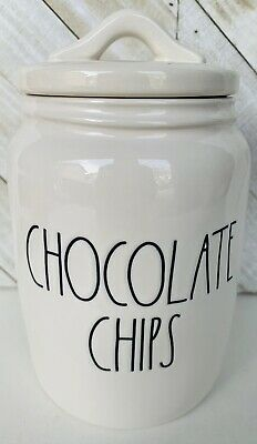 Rae Dunn CHOCOLATE CHIPS Baby Sized Large Letter LL Canister RARE 2020 HTF New