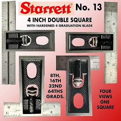 Starrett# 13 4 Inch Double Square With 4 Graduation Blade & Wrinkle Finish